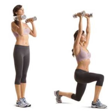dumbbell overhead lunges