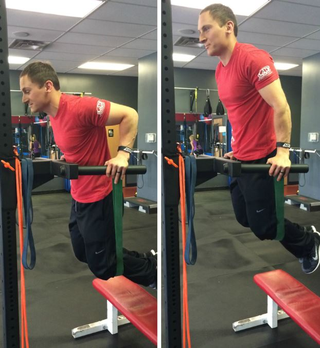 chest dips with bands
