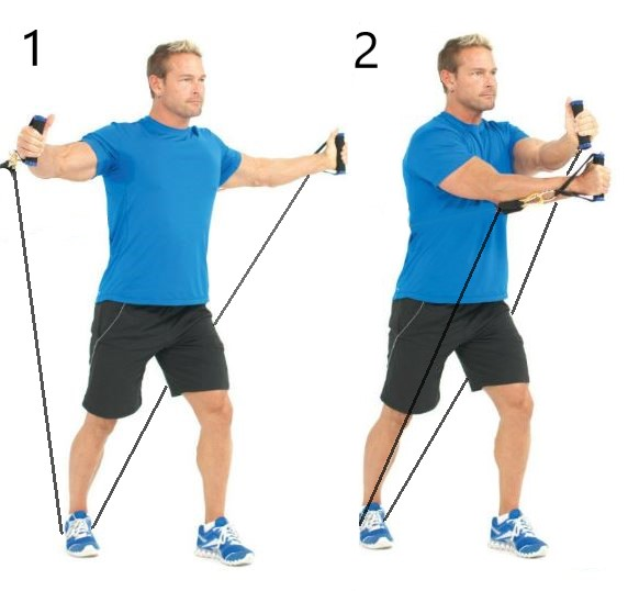 resistance band arm crossover leg