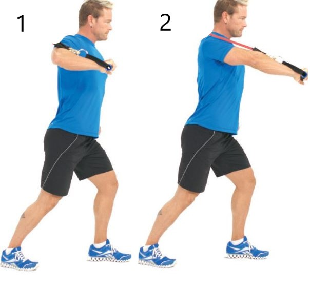 single arm chest press band back