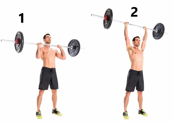 overhead barbell shrugs